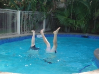Hamez and I being idiots in the pool in Noosa