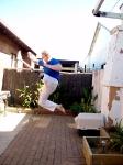 Jumping inside-out crescent kick, artificial leg