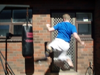 Jumping round kick, mid-air