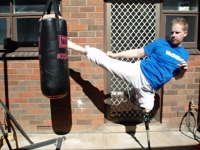 Round kick, real leg. My face looks funny :P
